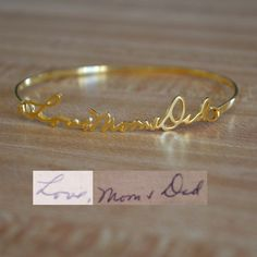 A gift for our baby girl when she is older. Etsy listing at https://www.etsy.com/listing/209210913/personalized-handwriting-bangle-bracelet