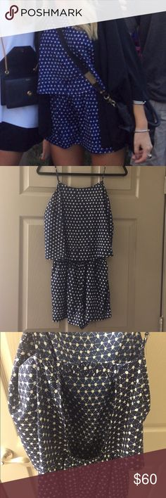 Aqua romper Adorable Aqua romper with open back! Great condition other than fraying in seam on back shown in picture 4. Unnoticeable unless you are looking from very close. Aqua Dresses Mini