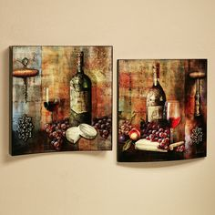 vineyard wine tasting wall art set multi jewel set of two wine theme kitchenkitchen - Wine Themed Kitchen Ideas