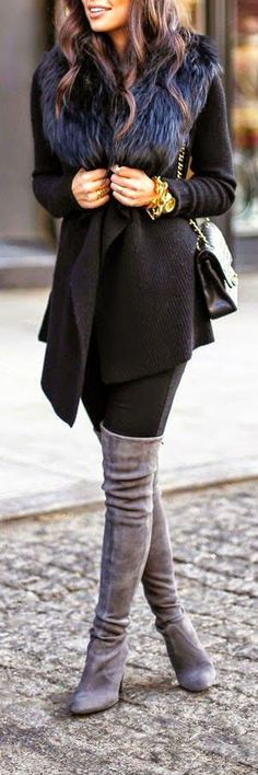 Black and Grey combination.black-fur-collar, leggings and shoulder bag and grey suede over the knee boots is a top winter look 2015