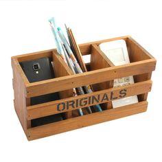 3 Compartment Vintage Wood Desktop Office Supply Caddy / Pen Pencil Holder / TV Remote control Holder/ Desk Organizer (Coffee)