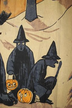Looks like the JOLs are pretty happy about the whole situation. Retro Halloween, Halloween Images, Halloween Night, Halloween Kids, Paper Halloween, Halloween Witches, Halloween Witch Decorations, Halloween Miniatures, Halloween Illustration