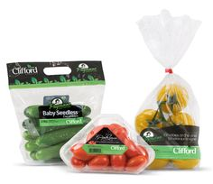 clifford produce, snack cucumbers,tomatoes and yellow vine package
