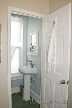 Tiny Bathroom Makeovers On Pinterest Small Bathroom