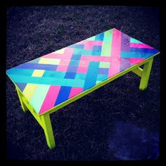 OH SO PRETTY the DIARIES: the DIY: NEON STRIPED COFFEE TABLE    cute for a classroom