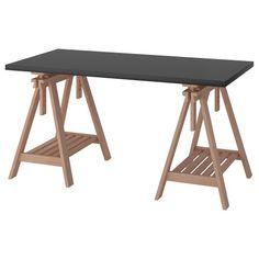 שולחן LINNMON/FINNVARD Ikea Table, Ikea Desk, Hack Ikea, Ikea Linnmon, Trestle Desk, Desk Hacks, Ikea Family, Large Desk, Black Desk