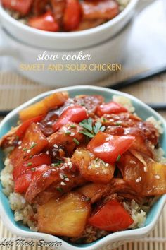 Slow Cooker Sweet and Sour Chicken with Pineapples and Bell Peppers - Homemade sweet and sour chicken. No need to order take-out with this easy and delicious slow cooker version.
