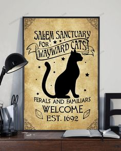 Black Cat Loves Magic Lover Witches Canvas Prints Salem Sanctuary For Wayward Cats Ferals And Familiars Welcome Est 1692 Vintage Wall Art Gift