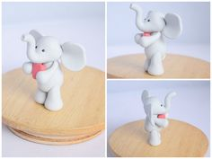 Polymer Clay Love Heart Elephant - Valentines Day Gift Cake Topper / Ornament