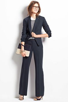 Pinstripe Peplum Back Jacket, $198, available at Ann Taylor; Ann Taylor Modern Pinstripe Trousers, $129, available at Ann Taylor.