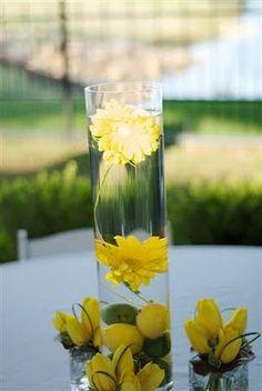 Submerged gerbera daisy with the lemon and limes and then the yellow tulips placed around for a finishing touch.