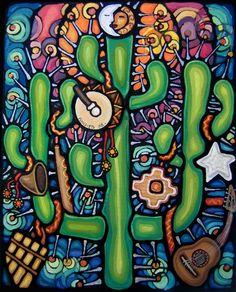 Cosmogonias y Sikuriadas 2 Psycadelic Art, Mexican Paintings, Latino Art, Mexican Heritage, Southwest Art, Cactus Art, Mexican Folk Art, Naive Art, Art Challenge