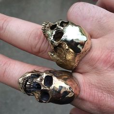 Into The Fire Jewelry - Brass Large half jaw skull ring no silver mens ring Skull Jewelry, Jewelry Shop, Gold Jewelry, Handmade Jewelry, Unique Jewelry, Skull Rings, Gothic Jewellery, Jewelery, Skull Wedding Ring