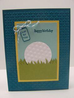 Stampin Up Handmade Greeting Card: Happy Birthday Card, Golf, Golfing, Golfer, Golf Club, Card for Man, Men's Birthday Women's Birthday - design copied from Tammy Bendel