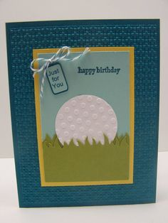Stampin Up Handmade Greeting Card: Happy Birthday Card, Golf, Golfing, Golfer, Golf Club, Card for Man, Men's Birthday Women's Birthday - design copied from Tammy Bendel