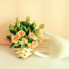 Premium Cold Porcelain Basket of Flowers by WorldOfIrena on Etsy