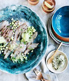 cured kingfish with cucumber and gin & tonic granita   gourmet traveller