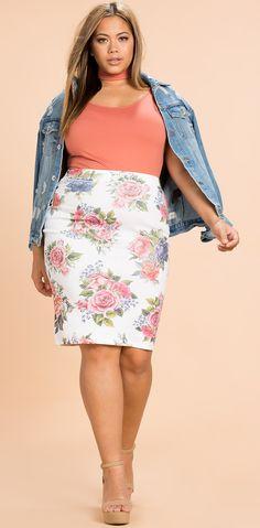 Plus Size Floral Pencil Skirt
