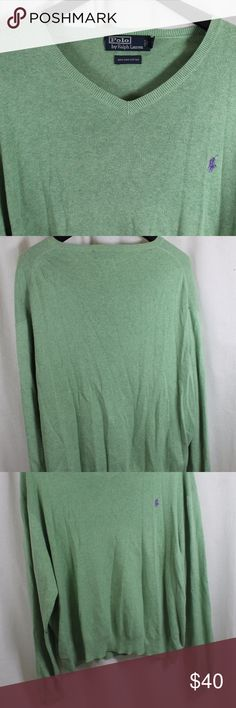 """POLO RALPH LAUREN GREEN PIMA COTTON SWEATER XL SIZE:     XL  ARMPIT - TO - ARMPIT:     25""""  LENGTH DOWN BACK:     26""""  STYLE:     LIGHT PULLOVER  MATERIAL:     100% PIMA COTTON  CONDITION:        BRAND NEW WITHOUT TAGS. SOURCED DIRECTLY FROM A NATIONAL UPSCALE U.S. RETAILER. QUALITY AND AUTHENTICITY GUARANTEED!   38-09-G Polo by Ralph Lauren Sweaters V-Neck"""