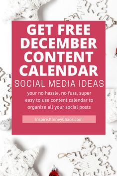 The key to success in creating content for your business is to PLAN ahead of time. Here's a free December Social Media content calendar to help you out in planning your content.   Use this editorial calendar to create Instagram content ideas, a social media content calendar for your business, or use this to plan out your Facebook business page content. Simply enter your email and as a bonus get social media posts you can edit and use!  #ContentCalendar #ContentPlan #PlanningContent #BlogContent