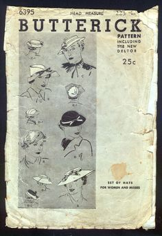 1930 Butterick Pattern - Ladies' Hats In Various Styles