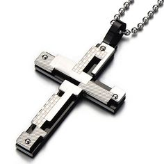 Stainless Steel Mens Cross Pendant Necklace Irregular Double-layer Checkered Design Silver Black Two-tone HC http://www.amazon.com/dp/B00NNCOXD2/ref=cm_sw_r_pi_dp_JIGmvb1G15BZ8