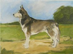 Original oil painting of a Siberian Husky with by BushmanStudio, $75.00