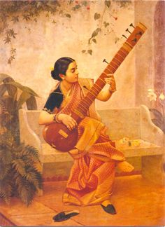 Kadambari - Portrait of Kadambari, a lady playing sitar. Oil painting on canvas by Raja Ravi Varma, done with his brother C. Raja Raja Varma - Collection of Ms. Chamundeshwari Pranlal Bhogilal, Mumbai, Maharashtra.
