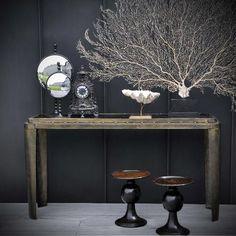 Objet de curiosité - Brass and wood industrial console Golden Color, Entryway Tables, Industrial, Sculpture, Wood, Modern Interiors, 2013, Globes, Furniture