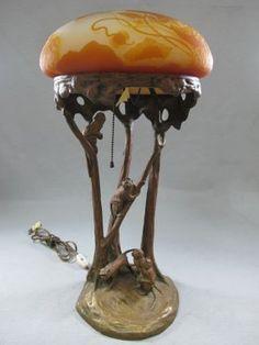 Galle Glass & Bronze Lamp, J. Valenta