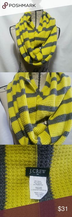 J.crew scarf This is a j.Crew Infiniti yellow and grey striped scarf, ❤no signs of wear.❤ No snags, visible 35% nylon 30% Viscose 30% wool  5% rabbit.   Please ask any and all questions before purchasing this item J. Crew Accessories Scarves & Wraps