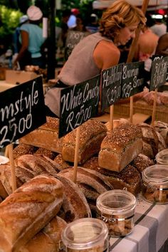Delicious freshly baked bread at the Stellenbosch Food Market in Cape Town, South Africa.