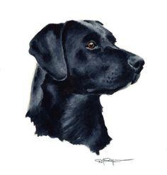 BLACK LAB Dog Art Print Signed by Artist DJ Rogers. $12.50, via Etsy.