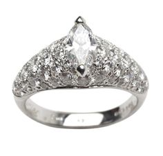 Cartier. A Marquise-cut Diamond Ring