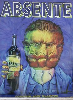 A Vincent Van Gogh se le atribuyo este tipo de intoxicacion cuando se corto la oreja, por que estaba borracho de absenta.Esta bebida contribuia a incrementar el extraño caracter de Van Gogh. Una noche Vincent agarra una navaja de afeira y se corta la oreja. Posteriormente fue a una casa de citas y le entrego la oreja a una prostituta conosida suya. Luego retorna a su casa, donde, despues de haber cerrado los postigos y encendio una lampara sobre una mesa, se acuesta y se queda dormido.