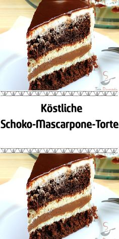 Delicious chocolate mascarpone cake- Köstliche Schoko-Mascarpone-Torte A creme cake suitable for various celebrations. The mascarpone filling is very fine and delicious. And inside, a surprise in the form of liquid nut chocolate. So delicious! Chocolate And Vanilla Cake, Chocolate Torte, Delicious Chocolate, Chocolate Peanut Butter, Chocolate Recipes, Easy Cake Recipes, Cookie Recipes, Dessert Recipes, Mascarpone Cake