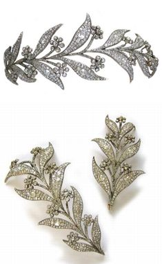 A Georgian diamond floral tiara c1830. Pave-set throughout with old-cut diamonds a total of 45 carats, convertible to two brooches. (Bentley & Skinner)