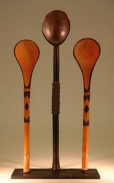 African Spoons - Zulu Tsonga Spoons Ladles Beer Strainer