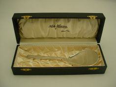 """Vintage Hans Hansen Flat Serving Spoon, Sterling Silver $275.00 Condition: fine vintage, preowned Year: 1960's Size: 6 1/2"""" long, comes in original presentation Box from Hans Hansen Inv. #: 08081382"""