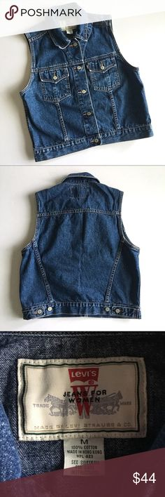 """❤ LIKE NEW Levi's Jean jacket Vest D3 LIKE NEW. PERFECT CONDITION // staple piece  for every Wardrobe // Levi's dark wash Sleeveless Denim Jean jacket button up Vest // Sz M // tag says Levi's jeans for women made by Levi Strauss & Co wpl 423 // 100% cotton // two front pockets // adjustable button tab on waist // 19.5"""" across armpits // 20.5"""" length // 18"""" waist laid flat // non-smoking home // not my size. Can't model // 4.22.44.762 14.6o // Bundle discounts! Levi's Jackets & Coats Vests"""