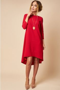 Rochie Asimetrica Rosie - Short Red Dress for Autumn, Autumn Office Red Dress Casual Fall Outfits, Autumn Casual, High Neck Dress, Red, Dresses, Fashion, Casual Fall, Dress Red, Curve Dresses