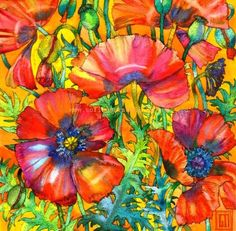 Poppies on Gold. Art by Sofía Perina Miller
