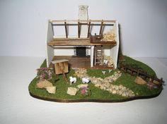 Scottish Crofters cottage,  micro mini . A dollhouse miniature in 1/144th scale. $100.00, via Etsy.