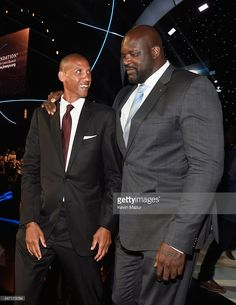 Former NBA players Reggie Miller (L) and Shaquille O'Neal attend the 2016 ESPYS at Microsoft Theater on July 13, 2016 in Los Angeles, California.