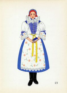 Traditional Folk Dress of Uherske' Hradist, Czech Republic. Folk Clothing, Folk Festival, Folk Costume, Beautiful Patterns, Czech Republic, Dance Costumes, Traditional Outfits, Illustration, Drawing Things
