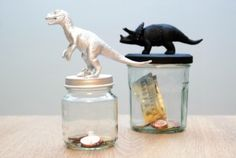 DIY; Dino spaarpot maken // dinosaur // piggy bank // mason jar