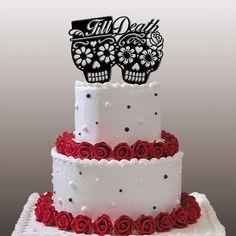 "Items similar to Dia De Los Muertos - ""Till Death"" Wedding Cake Topper on Etsy Skull Wedding Cakes, Gothic Wedding Cake, Halloween Wedding Cakes, Wedding Cake Toppers, Skull Cakes, Cupcakes, Cupcake Cakes, Wedding Themes, Our Wedding"