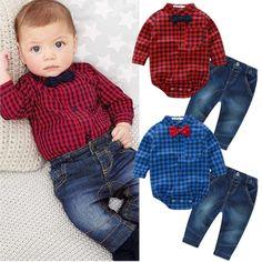 Cool 2pcs Kids Baby Boy Romper Bodysuit Jumpsuit Tops+Jeans Pants Outfits Clothes Set 2017-2018