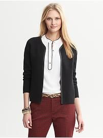 Piped Black Sweater Jacket