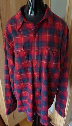 Vtg~Polo Ralph Lauren~RL CLASSIC Western Shirt~Sz XXL RED PLAID FLANNEL MEN #PoloRalphLauren #ClassicWestern